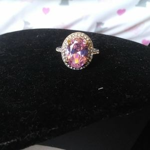 Jewelry - Pink rose quartz stainless steel halo ring